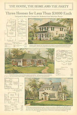 Three Houses For Less Than $3000, Suburban Homes, Vintage, 1912 Antique Print,