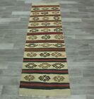 Antique White Turkish Runner Rug Anatolian Handmade Bohemian Ethnic Carpet 2x7ft