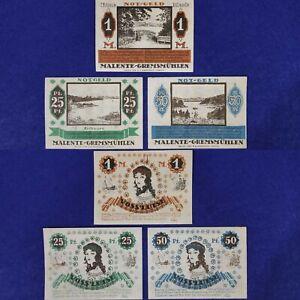 Germany 1920, 1,25,50 Pfennig AU . Complete Set Emergency Banknote.
