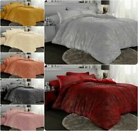 Chunky Ribbed With Glitter Teddy Sherpa Fleece Duvet Covers Thermal Bedding Sets