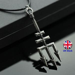 Retro Percy Jackson Poseidon Trident Pendant Necklace - UK Stock