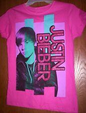 Justin BIEBER Cute Haircut Fushia Pink s/s Shirt Girl's 14/16 NeW Short Sleeve