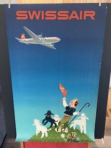 VINTAGE RARE ORIGINAL SWISS AIR  Travel Poster 25x40 BEAUTIFUL LOOK!