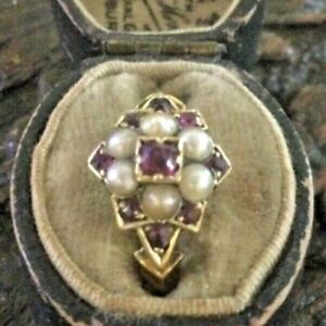 Victorian 18 Ct Gold Garnet and Seed Pearl Ring
