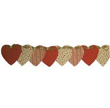RUSTIC HEART GARLAND, RED CHINTZ AND RED POLKA DOTS, 100% COTTON FABRIC, 2.5 MET