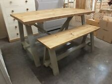 SHABBY CHIC 5FT A-FRAME TABLE  ROUGH SAWN RUSTIC BESPOKE SIZES & COLOURS