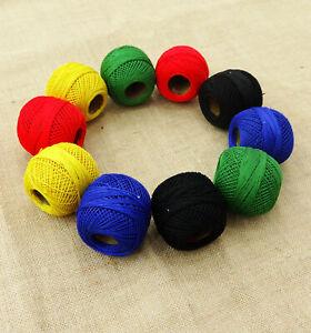 MultiColor Mercerized Cotton 10 Pcs Crochet Yarn Tatting Thread-TlM