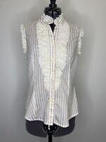 Review Vintage Ruffle High Collar Cotton Blouse Size 8 EUC