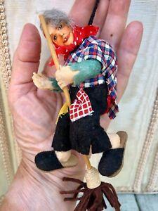 Vtg c1954 Erna Meyer Cloth Doll House Norwegian Kitchen Witch Mascot Halloween!