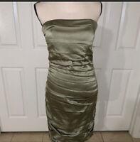 NWT Alice + Olivia Strapless Midi Cocktail Dress Size 8 Olive Green