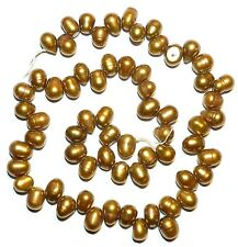 """NP318f Antiqued Copper 8-9mm Cultured Freshwater Top-Drilled Rice Pearl Bead 15"""""""