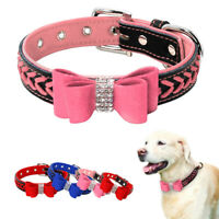 Bling Rhinestone Bowtie Dog Collars Suede Leather Necklace for Small Medium Dogs