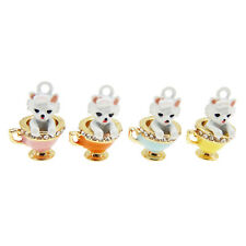 4PCS Colorful 17x12mm Cup Dog Enamel Plated Crystal Charms Pendant DIY Findings