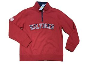 NWT Tommy Hilfiger Red 1/4 Zip Boys M (12/14) Retail $34.50