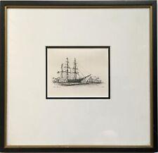 Vintage Miniature Original Mystic Seaport Old Wooden Ship Pen Ink Drawing Signed