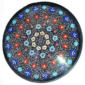 30 Inches Semi Precious Stones Coffee Table Top Floral Work Marble Kitchen Table