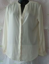 $52 METAPHOR ivory Small metallic gold cuff light blouse button top gently worn