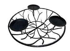 Iron Metal Christmas Branch Black 3 Candles Holder Centerpiece Tabletop Decor