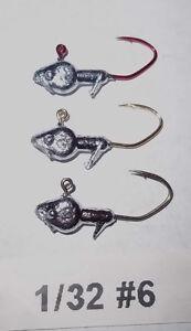 100ct Minnow Head...1/32 #6&4 1/16 #4&2 Red Gold & Black chrome Sickle Hooks