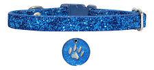 cobalt bleu collier pour chihuahua chien chiot 17,8-25,4cm & paillettes bleues