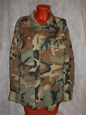 BDU SHIRT,WOODLAND CAMO RIPSTOP 50/50 NYCO, MED./SHORT GOOD COLOR, USED!
