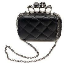 Black Metallic Skull Head Ring Mini Clutch Evening Bag Purse Handbag Women