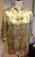 Vtg Asian Oriental Silk Gold Floral Toggle Jacket Top Size M Japanese