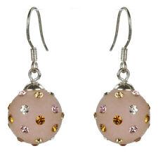 Boucles d'oreilles boule résine rose cristal Swarovski blanc rose orange