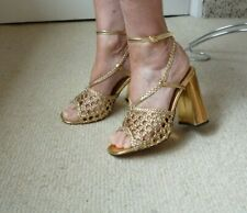 Asos,Gold Strappy weave block heel Shoes/Sandals,New,Sz 5,Wedding,Occasion,Party