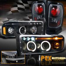 94-01 Dodge Ram 1500 2500 3500 Halo Projector LED Headlights + Tail Lights Black