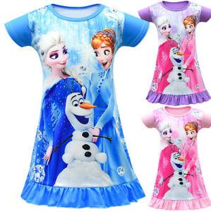 Kids Frozen Elsa Anna Girls Nightdress Nightie Dress Sleepwear Pajamas Skirts