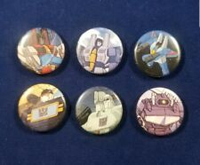 "Transformers Decepticons set of 6 one inch 1"" pins buttons badges Megatron 80s"