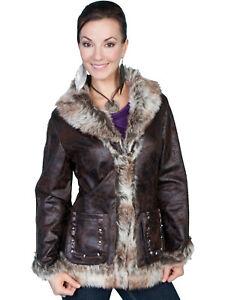 Scully Womens Faux Shearling Mottled Jacket 8013