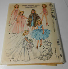 """Vtg McCall Sewing Pattern 2162 for 12"""" high heel fashion doll clothes outfits"""