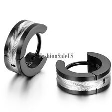 Stainless Steel Polished Shiny  Men's European Stylish Hinged Hoop Earrings 2pcs
