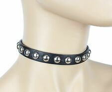 "Round Stud Leather Punk GOTHIC Choker Genuine Leather 1/2"" Collar"