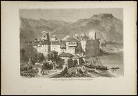 1860 - Monasterio De Esphigmenou ( Monte Athos ) - Grabado En Madera -