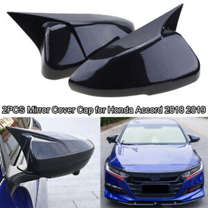 For Honda Accord 10th 2018 2019 Carbon Fiber Black OX Horn Rearview Mirror Cover
