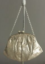 VINTAGE Retro Silver Fabric Evening Frame Bag/Purse w Short Chain