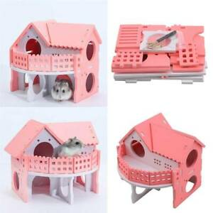 Wooden Hamster House Cage Accessories Degu Rat Rodents Rabbit Gerbil Mouse HC