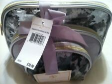 Adrienne Vittadini Set of 3 Dome Shape Gray Floral Print Cosmetic Bag Set - NWT