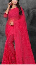 Pink Net Saree Bollywood Party Indian Ethnic Wedding Designer sari.Good quality.