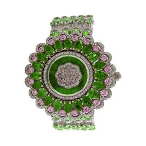 925 Sterling Silver Green & White Round CZ Handmade Flower Studded Women's Watch