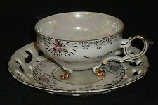 Trimont Ware Japan Tea Cup and Saucer Iridescent Pearl Lustre Footed Vtg