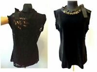 MARC CAIN SZ 5 TOP BLOUSE BLACK DRESS WITHOUT SLEEVES LACE BACK FRONT