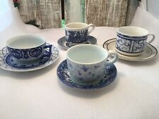 4 -  Vintage Mismatched China Blue And White Tea cup & Saucer Sets Shabby   #35