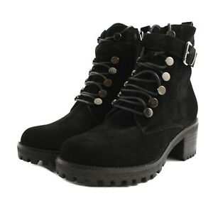 Booties Combat Boots Carmela Woman Suede Black Buckle and Zip Side Heel Rubber