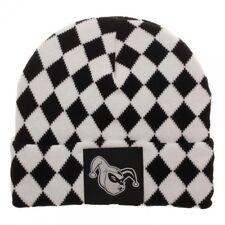 DC Comics Harley Quinn Black and White Diamond Pattern Knit Cuff Beanie
