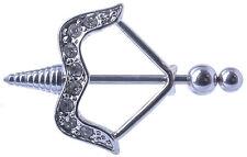Brust Piercing Intimpiercing Pfeil und Bogen mit Kristallen
