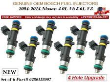 6 NEW Fuel Injectors 4Hole OEM Bosch For 2004-2014 Nissan 4.0L V6 5.6L V8
